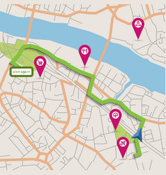 City map with navigation and pointers vector