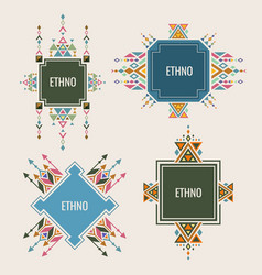 colorful ethno logo or banners design with vector image
