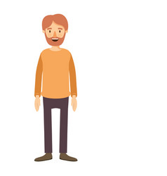 Colorful image caricature full body man bearded vector