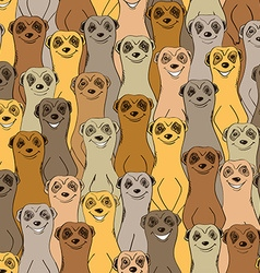 Colorful Seamless Pattern Of Smiling Meerkats vector image