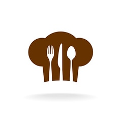 Cooking hat silhouette with cutlery inside title vector image
