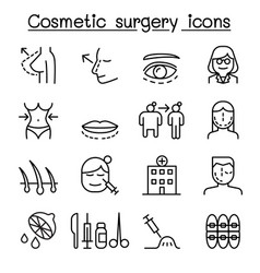 cosmetic surgery surgical operation icon set in vector image