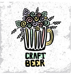 craft beer hand drawn poster vector image