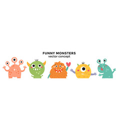 Cute banner with monsters in a row vector