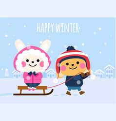 cute rabbits in winter happy winter card vector image