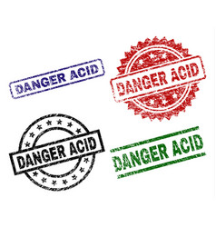 damaged textured danger acid seal stamps vector image