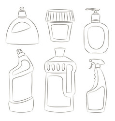 detergent bottles collection vector image