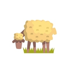 Dirty White Sheep Toy Farm Animal Cute Sticker vector image