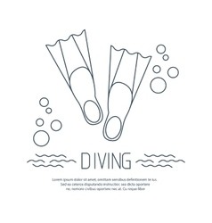 Diving icon with flippers and bubbles vector image