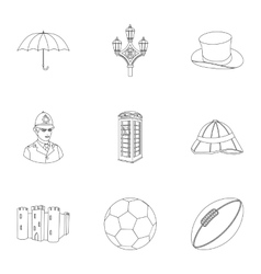 England country set icons in outline style Big vector