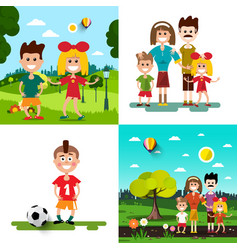 family with kids set vector image