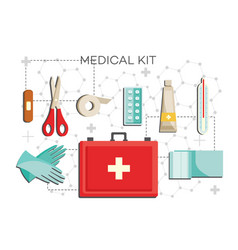 first-aid kit with necessary contents - medical vector image