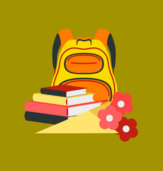 Flat icon on stylish background book bag flowers vector