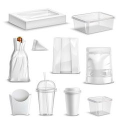 food packaging blank realistic set vector image
