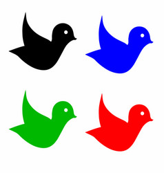 Four birds in multiple colors vector
