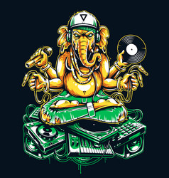 Ganesha dj sitting on electronic musical stuff vector