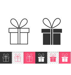 gift simple black line icon vector image