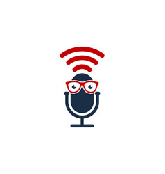 glasses podcast logo icon design vector image