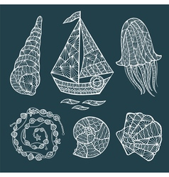 Handmade stylized set of zentangle vector