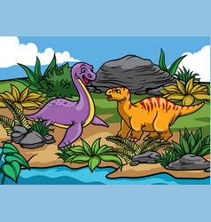 happy dinosaurs cartoon in the nature vector image