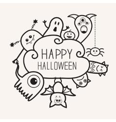 Happy Halloween countour outline doodle Ghost vector