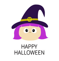 happy halloween witch girl face wearing curl hat vector image