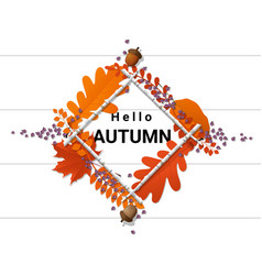 Hello autumn with wreath on wooden board vector