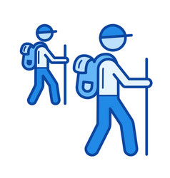 Hiking line icon vector