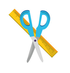 Isolated scissor and ruler design vector