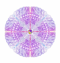 Light-purple lace mandala watercolor hand-drawn vector