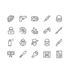 Line crime icons vector