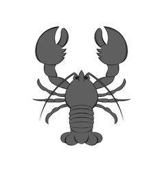 Lobster icon black monochrome style vector