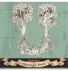 Magic grunge forest hand drawn by a vintage font vector