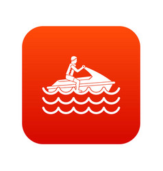 man on jet ski rides icon digital red vector image