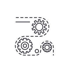 manufacturing processes line icon concept vector image