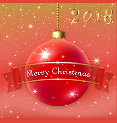 merry christmas decoration background with 3d red vector image