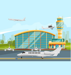 modern building of airport terminal with control vector image