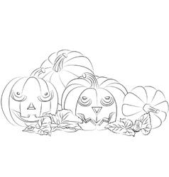 monochrome a halloween pumpkin vector image