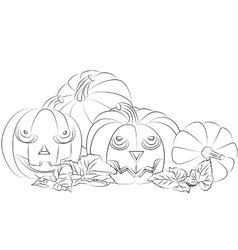 Monochrome of a Halloween pumpkin vector
