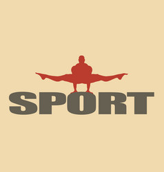 Muscular man posing on sport word vector