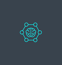 neural networks concept blue line icon simple vector image