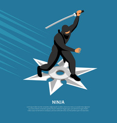 Ninja warrior isometric poster vector