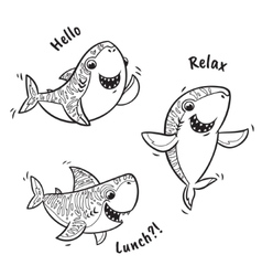 Outline set with shark in cartoon style vector