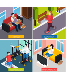 owerweight people concept icons set vector image