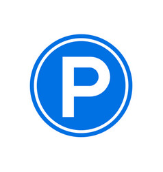 parking icon round sign park symbol circle vector image