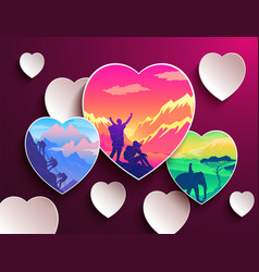 people love traveling heart shapes with vector image