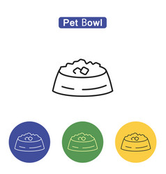 Pet bowl line icon vector