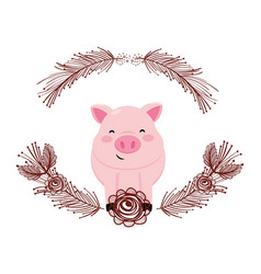 pig with flower arrangement vector image