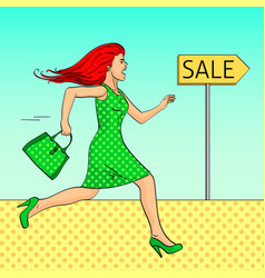 pop art background the girl is running for a sale vector image