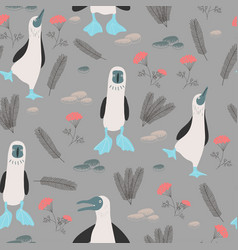 print with blue-footed booby vector image